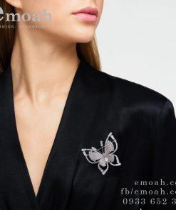 Cài áo bạc 925 hàn quốc hình bướm đính đá cao cấp ELCA10