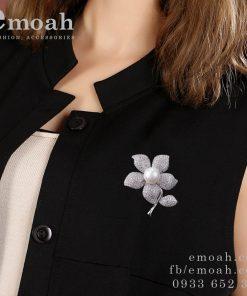 Cài áo bạc 925 hoa mai đính đá pha lê cao cấp ELCA19