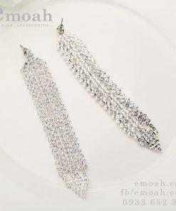 Bông tai bạc 925 dáng dài đính đá cao cấp ELBT16