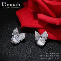 Bông tai bạc 925 hình nơ hàn quốc đính đá cao cấp ELBT01