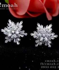 Bông tai bạc 925 nụ hoa 6 cánh đính đá zircon cao cấp ELBT37