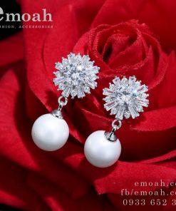 Bông tai ngọc trai bạc 925 nụ hoa tuyết cao cấp ELBT36