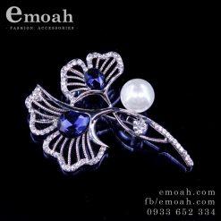 Cài áo hàn quốc bạc 925 bông hoa đính đá pha lê cao cấp ELCA28