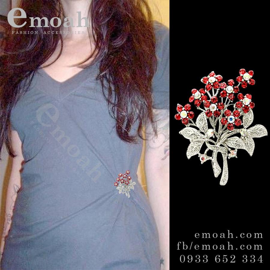 Cài áo hàn quốc hình bông hoa đỏ ELCA27