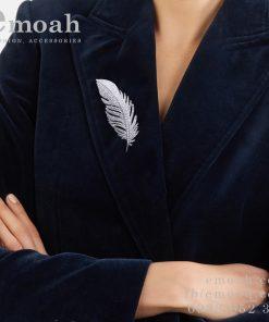 Cài áo hàn quốc bạc 925 lông vũ cao cấp ELCA34