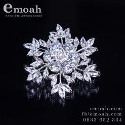 Cài áo hàn quốc bạc bông hoa đính pha lê cao cấp ELCA33