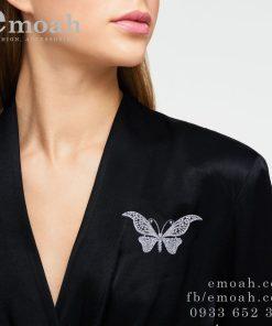 Cài áo hàn quốc bạc hình bướm cao cấp ELCA31