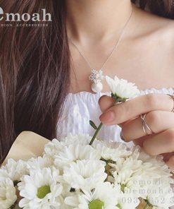 Dây chuyền bạc nữ đính đá zircon cao cấp ELDC26