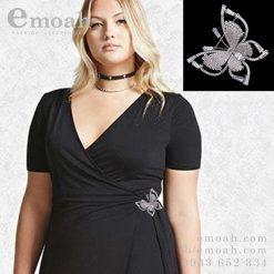 Cài áo hàn quốc bạc 925 hình bướm đính đá cao cấp ELCA10