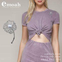 Cài áo hàn quốc bạc 925 bông hoa đính đá pha lê cao cấp ELCA29