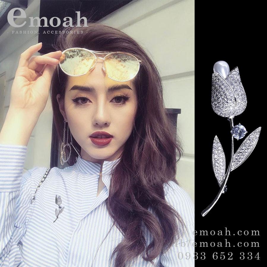 Cài áo hàn quốc bông hồng bạc 925 đính đá pha lê cao cấp ELCA01