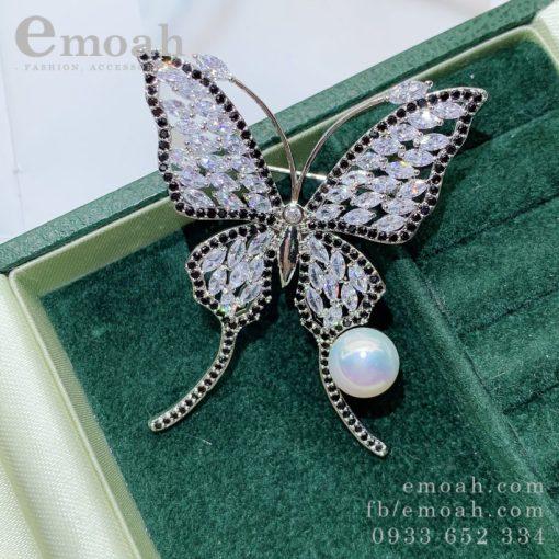 cài áo bướm xinh đính đá viền đen
